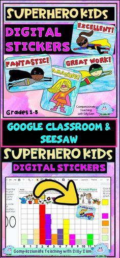 """Great way to celebrate students' efforts in Remote Learning at Home! Add a DIGITAL STICKER to their assignments in GOOGLE SLIDES, GOOGLE CLASSROOM, SEESAW & OTHER DIGITAL PLATFORMS! Give your students a """"touch of normal"""" from being in school with you and give them a FUN & MOTIVATING sticker! My first and second graders love to collect them! 24 Superhero Kid Stickers plus directions! Artwork by Compassionate Teaching with Silly Sam! Brain Based Learning, Social Emotional Learning, Social Skills, Teaching Techniques, Teaching Tips, Behavior Goals, 21st Century Classroom, Superhero Kids, Effective Teaching"""