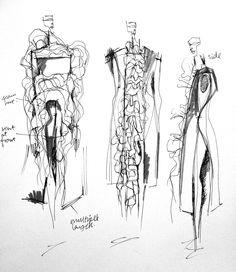 Fashion Sketchbook - fashion design drawings; dress sketches; fashion portfolio; the creative process // Connie Blackaller