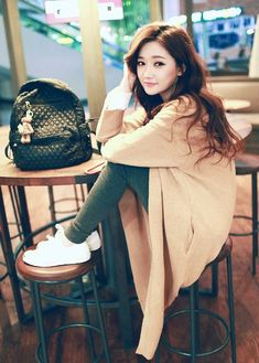 awesome Loving the long cardigans and white sneakers... by http://www.redfashiontrends.us/korean-fashion/loving-the-long-cardigans-and-white-sneakers/