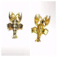 Vintage Damascene Lobster Brooch, gold tone, black enamel, figural pin, Clearance Sale, Item No. B649 by ESTATENOW on Etsy https://www.etsy.com/listing/504824944/vintage-damascene-lobster-brooch-gold