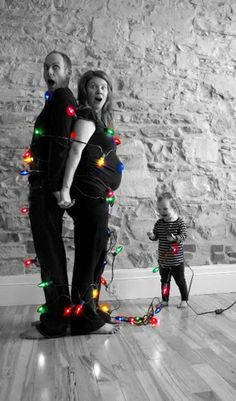 Wouldn't this be hilarious to have the boys wrap me up in lights for our family christmas photo?