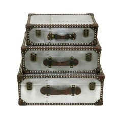 Stack these decorative trunks in your living room or foyer for a rustic chic accent. The bonus—you can use them to stow away magazines, papers, and other materials that would otherwise clutter your des...  Find the Decorative Trunks - Set of 3, as seen in the Eccentric Meets Rustic in Madison Collection at http://dotandbo.com/collections/eccentric-meets-rustic-in-madison?utm_source=pinterest&utm_medium=organic&db_sku=92397