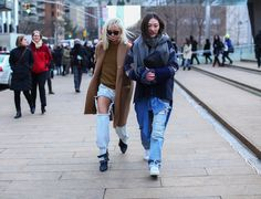 Jayne Min with friend. I'm not sure I get the ripped jeans but I like to be challenged.