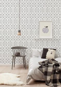 Self adhesive Peel and stick wallpaper  - Trellis pattern - 102 WHISPER/ SNOW by Betapet on Etsy https://www.etsy.com/listing/230860787/self-adhesive-peel-and-stick-wallpaper