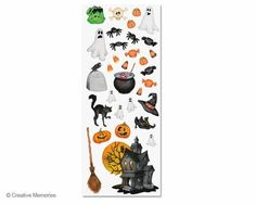 Classic Halloween Stickers featuring Creative Memories' classic watercolor artwork.