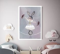 Miss Lily by Amanda Greenwood, Circus, tightrope, watercolor nursery wall art, gray, bunny, Purple, nursery prints, baby girl, nursery, gift by hellomrmoon on Etsy