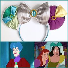 """""""Cinderella"""" Minnie Mouse Disney Ears! Evil Step-Sisters  Evil-Step-Mother Inspired! Cinderella on the front of the these double sided ears!  #EvilStepSisters #EvilStepmother #Cinderella #DisneyVillains #Disney #Disneyland #DisneyWorld #WDW #Diy #DiyMouseEars #DisneyHeadband"""