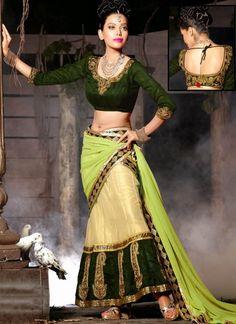 Majesty Bottle Green & Buttercream Lehenga Choli #lehnga #wedding #bridal #shaadi #women #bride #LehengaCholi #ethnic #wear #desiwedding #asianclothes #bollywood #indian #trendz #indiantrendz