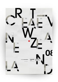 "This isn't strictly Editorial Design, but Typography IS a huge part of Editorial Design. its surprising how easy it is to read ""Creative New Zealand"". Great composition. Merge on Typography Served"