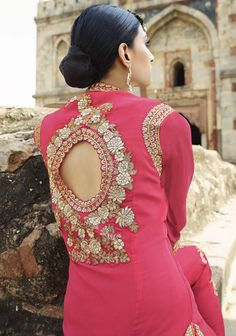Pink color Georgette fabric Designer Suit Lawn by VardhitaSarees