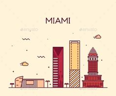 Miami Skyline Trendy Vector Illustration Linear by gropgrop Miami skyline at night, detailed silhouette Trendy vector illustration linear style
