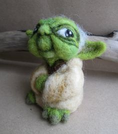 Needle felted Yoda collectible soft sculpture by MistybelleCrochet