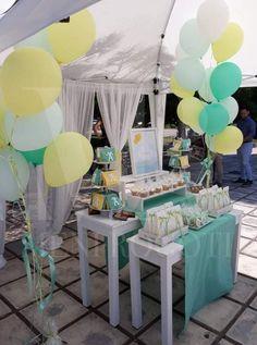 Βεραμάν, κίτρινο και λευκό! Ένας συνδυασμός χρωμάτων για μια minimal διακόσμηση στη βάπτιση ή το πάρτι του παιδιού σας! Table Decorations, Furniture, Home Decor, Decoration Home, Room Decor, Home Furniture, Interior Design, Home Interiors, Interior Decorating
