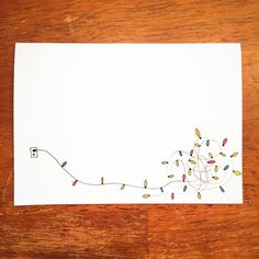 Christmas Cards - Cute Christmas envelope, sketched with tangled string of lights Christmas Envelopes, Diy Christmas Cards, Xmas Cards, Christmas Art, Holiday Cards, Christmas Card Designs, Christmas Lights, Christmas Doodles, Mail Art Envelopes