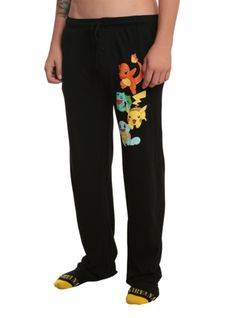 Comfy guys pajama pants with Pokemon starter design on the left leg and an elastic drawstring waist with single button fly.