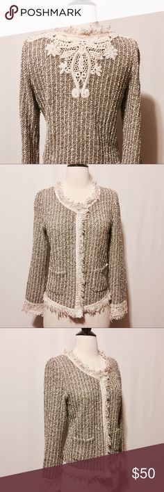 """💫 Zara Bouclé Knit Embroidered Back Jacket NWOT Chic and playful merges!  Zara basic Open front blazer with fringe trim detail along all edges. Stripe boucle knit has subtle metallic threads throughout its cream & black background. Lace detailing at sleeve hem with fringe. Embroidered detail at center back. Two patch pockets.  81% Cotton 10% Polyester 1% Viscose   Dry Clean Only   36"""" Bust  23"""" overall length    #PM1100516   NWOT Zara Jackets & Coats Blazers"""