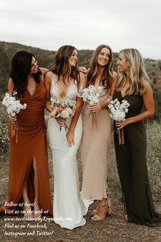 // Lovely Bride Pro Tip: Were all about mixing it up! Keep your unique bridesmaid looks cohesive by creating a color palette for your babes. You can never go wrong with rust blush and olive. Click the link in our bio to see more from our Lo Wedding Bells, Boho Wedding, Dream Wedding, Wedding Ceremony, Trendy Wedding, Mermaid Wedding, Backless Wedding, Crazy Wedding, Bohemian Weddings
