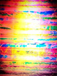 'Colorful Soundwaves.' This is a digital art piece, using an existing painting, 'Soundwaves,' combined with a photograph I took, playing on light and reflections (a common theme in my photography work). I 'amped up' the color saturation, part of my style. It's vibrant, in your face, and pretty much how I operate creatively.