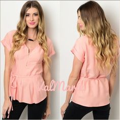 Zipper Closure Peach Tie Waist Top This stunning peach colored top features a working zipper closure detail that u can adjust to show a little cleavage or keep up to show none and self-tie waist sash around waist line. Great material and perfect for spring to wear to work or any time. Also has cuffed short sleeves. Made of 60% cotton, 20% rayon, 20% polyester. Price is firm unless bundled. Have size S (2-4) M (6-8) L (10-12) also have in mint. You may purchase this listing as I've created…