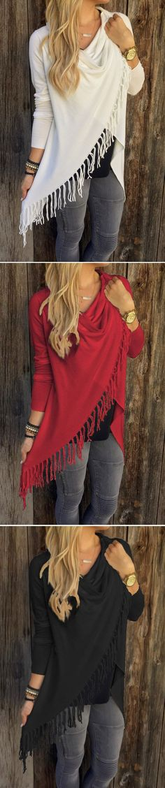 Enjoy Comfortable style with Free Shipping Worldwide.This top with Gray Single Button Tasseland Asymmetrical Hem Shawl,Find more at vogueclips.com