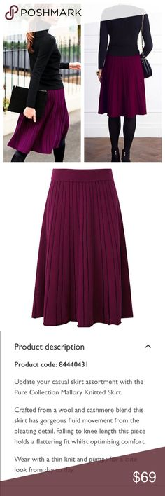"""🌼HP🌼 Cashmere Pure Collection Mallory Knit Skirt • Pure Collection Mallory Knitted Skirt Rich Berry Lambswool Cashmere Size L NWT  • Size large • 70% lambswool 30% Cashmere  • 16.5"""" elastic waist (measured flat) waist stretches • 25"""" hips • 25"""" length Pure Collection Skirts"""