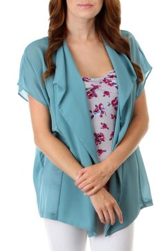 Short Sleeve Flowy Open Front Blouse
