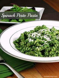 A Spinach Pesto Pasta recipe made healthier using Greek yogurt, takes minutes to make! | alidaskitchen.com