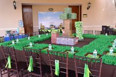 Table decorations at a Minecraft Themed Birthday Full of AWESOME IDEAS Party via Kara's Party Ideas Kara'sPartyIdeas.com #Gamer #Gaming #PartyIdeas #Supplies #Minecraft #table #decorations