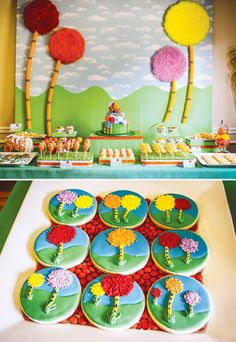 Truffula Tree Inspired Lorax Birthday Party // Hostess with the ...  Dr.seuss theme ideas for birthday or baby shower Invitations, decorations, cupcakes, cake pops, cake, party favors