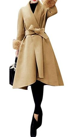 Jofemuho Womens Winter Belted Double Breasted Faux Fur Collar Trench Jacket Pea Coat Overcoat