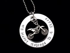 My heart belongs to a Rider - hand stamped pendant with necklace - ATV rider, Dirtbike rider. $19.00, via Etsy.