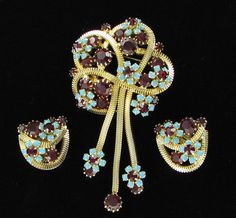 Dangly Fringe Turquoise and Red Rhinestone Juliana by prettysnazzy, $80.00