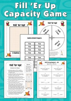Fill 'Er Up Capacity Game - Included in the Gallon Robot to the Rescue Mini Pack from Laura Candler, a comprehensive resource to help your students remember and convert between the customary units of capacity. After creating Gallon Robots from patterns, students will learn the fractional relationships between cups, pints, quarts, and gallons. Includes cooperative learning activities, center games, and teacher demonstration pages. Complete directions, printables, and answer keys are…