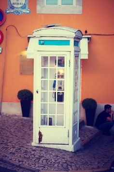 Sintra - Phone Both #phone #old #white #sit #colors #yellow #portugal #sintra