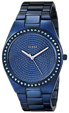 GUESS Women's U0059L2 Iconic Blue Plated Watch with Genuine Crystal Accents GUESS http://www.amazon.com/dp/B00AWXTAFG/ref=cm_sw_r_pi_dp_6QJBub0CFR6C5
