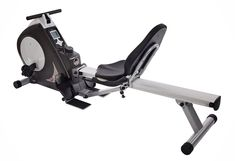 Stamina 15-9003 Deluxe Conversion II Recumbent / Rower. Combination rowing machine and recumbent exercise bike for total body workouts. Top bar for performing upper body exercises, such as bicep curls and tricep kickbacks. Electronic monitor with large LCD display tracks speed, time, calories, distance, and more. 8 levels of smooth, quiet magnetic resistance; hand-pulse sensor built into grips. 250-pound weight capacity; measures 74.5 x 25.5 x 10 inches (W x H x D).