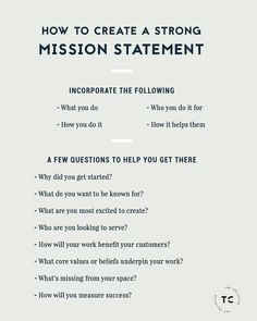 How To Create A Strong Mission Statement Personal Branding, Marca Personal, Branding Your Business, Business Tips, Online Business, Small Business Marketing, Business Website, Writing A Mission Statement, Mission Statement Examples Business