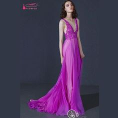 A Line V Neck Lace Chiffon Fuchsia Prom Dresses 2017 Long Formal Dress New Spring Style Sexy Evening Gown Discount