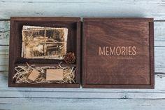"""Handgemachte Vintage Holz Foto-Box 4 """"x 6"""" (10x15cm) + USB Flash Drive Speicherstick 8Gb, 16Gb, 32Gb Hochzeit oder Familienfoto - graviert"""