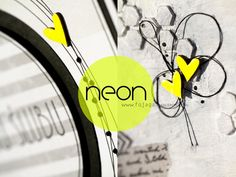 wedding, card, diy, scrapbooking, hearts, neon, yellow, black - by FojAga