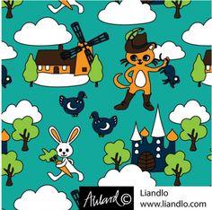 Retro stof gelaarsde kat liandlo tricot | Masterkatten organic cotton knit