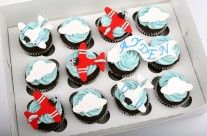Airplane Cupcakes by Delish Cakery Cupcake Party, Cupcake Cookies, Party Cakes, Airplane Cupcakes, Airplane Party, Baptism Cupcakes, Themed Cupcakes, Planes Cake, Blue Frosting