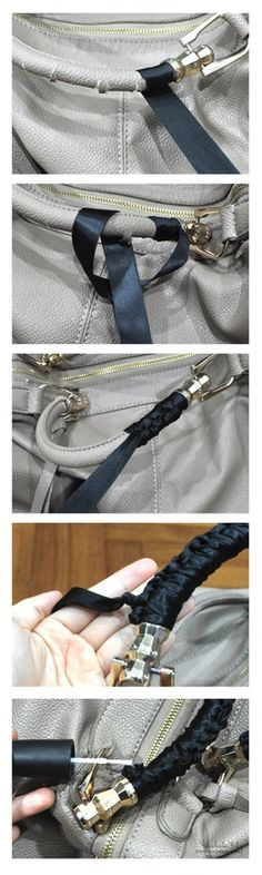 How to save torn handbag handles with ribbon tutorial. BRILLIANT! - Could use same idea around rolled up old fabric to make DIY handles
