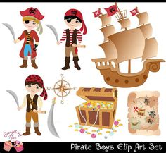 Pirate Boys Clip Art Set perfect for all kinds of creative projects!  All designs are digital sales. No items will be shipped! Girl Pirates