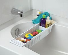 Bath Tub Toy Organizer Basket Adjustable White Storage Caddy Kids Holder No Tax