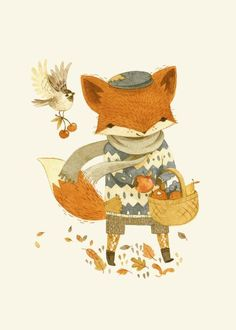 Children's Illustration: Fritz the Fruit-Foraging Fox and his chickadee companion by Teagan White