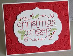 Holiday Catalogue Extravaganza Try with blue base layer w/ northern flurry  and offset greeting