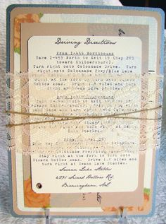 invites! amazing, vintage wrapped with lace and twine (my two favorite combos)