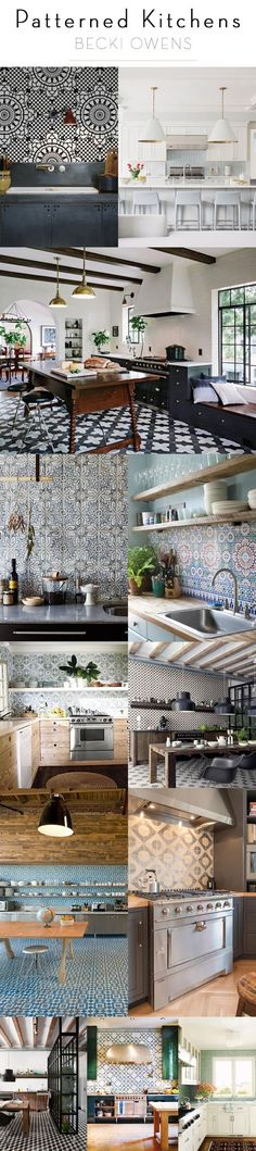 I'm not generally a fan of patterned tile, but I actually do like a number of these kitchens, somehow they really work // patterned kitchens becki owens Küchen Design, Tile Design, House Design, Design Ideas, Kitchen Interior, Interior And Exterior, Interior Design, Design Interiors, Design Kitchen