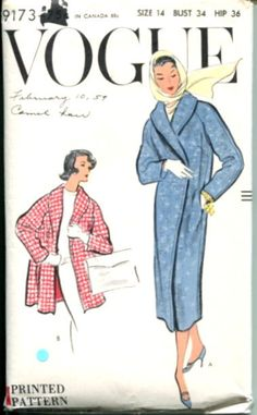 Vogue 9173 1950s Shawl Collar Wrap Evening Coat Sewing Pattern Bust 34 Size 14. , via Etsy.